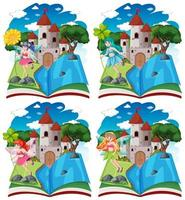 Fairy tales and castles on pop up book  vector