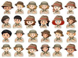 conjunto de diferentes personajes de niños y niñas exploradores. vector