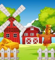 Escena de la granja en la naturaleza con granero y espantapájaros. vector