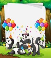 Plantilla de papel con animales en tema de fiesta.