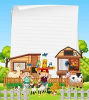Blank paper in organic farm with animals vector