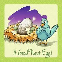 Idiom good nest egg  vector