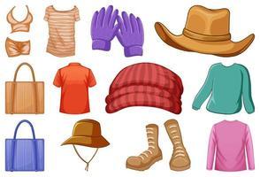 conjunto de trajes y accesorios de moda. vector