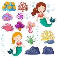 Set of cute mermaid and sea