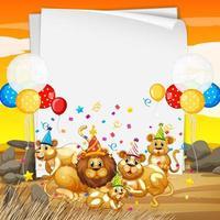 plantilla de papel con animales lindos en tema de fiesta