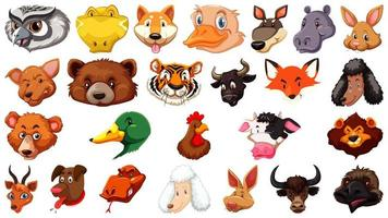 Set of different cute cartoon animals heads