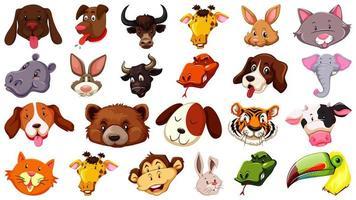 Set of different cute cartoon animals vector