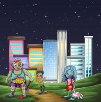 Tres zombies caminando en el parque por la noche. vector
