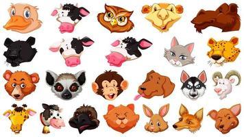 conjunto de diferentes animales de dibujos animados lindo aislado vector