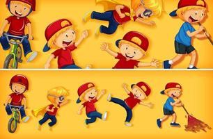 conjunto de personajes infantiles sobre fondo de color amarillo vector