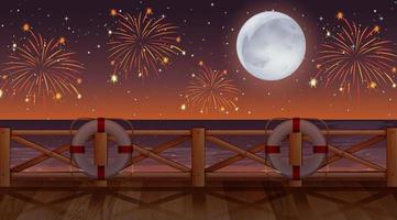 Fireworks on sky from beach view vector