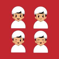 Middle Eastern boy with different facial expressions vector