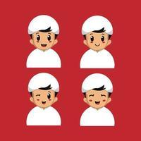 niño del medio oriente con diferentes expresiones faciales.