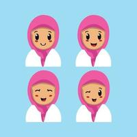 Middle Eastern girl with different facial expressions vector