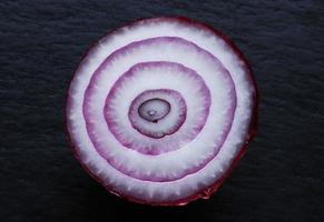 Red onion cut in half on slate background