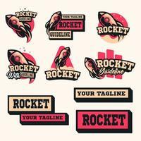 conjunto de logotipo de cohete vector