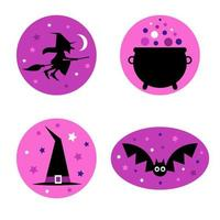 Purple Halloween witch and bat graphics vector
