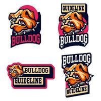 conjunto de mascota de cabeza de bulldog vector