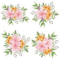 Set of watercolor hibiscus flower bouquets vector