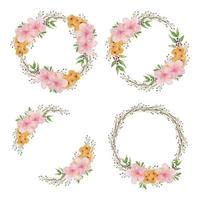 Watercolor hibiscus flower circle frame set vector