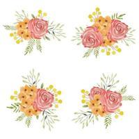 ensemble de beau bouquet de fleurs roses peintes à l'aquarelle vecteur