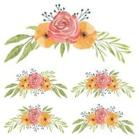Red and orange hand painted watercolor flower set