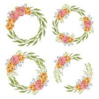 Hand painted watercolor flower wreath collection vector
