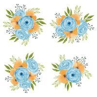 Vintage watercolor flower arrangement in blue and orange