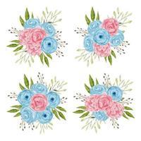 Blue and pink watercolor rose flower arrangement set vector