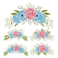 Blue and pink watercolor rose flower bouquet collection vector