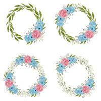 Watercolor rose flower wreaths in blue and pink vector