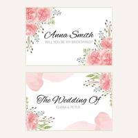 Watercolor pink floral wedding bridesmaid card template