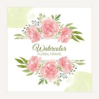 Watercolor floral frame with pink blooming carnation vector
