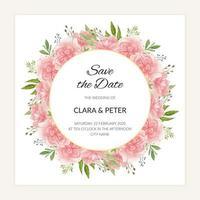 acuarela guardar la plantilla de fecha con marco circular de flores