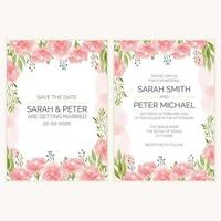 Carnation floral wedding invitation card in watercolor style vector