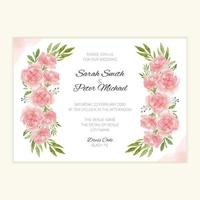 Wedding invitation template with watercolor flower bouquet vector