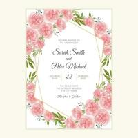 Wedding invitation card with watercolor carnation flower vector
