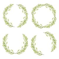 Watercolor green leaf circle frame collection vector