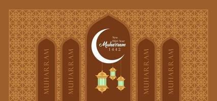 Happy Muharram greeting card with moon and lanterns
