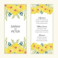 Menu card template with watercolor yellow flowers