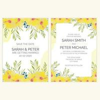 Wedding invitation card with watercolor tropical flower vector