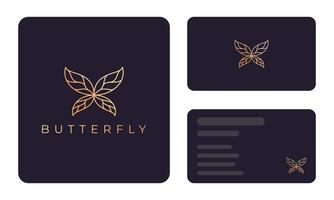 Gold butterfly business card template vector