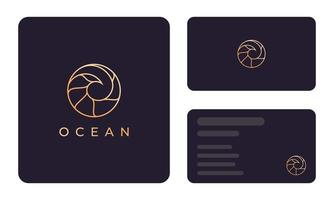 Gold ocean wave business card template vector