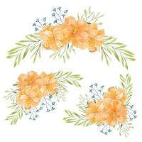 Set of watercolor hand painted flower bouquet vector