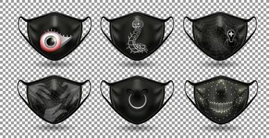 mascaras negras de halloween vector