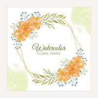 Rustic marigold floral frame in orange watercolor style