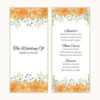 Menu card template with watercolor golden flower frame