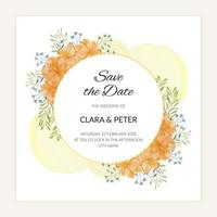 Floral save the date card in gold watercolor painting style vector