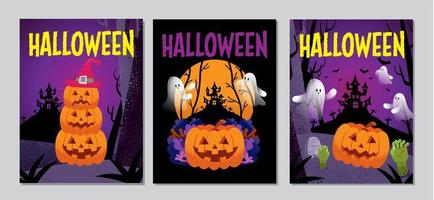 conjunto de cubierta de halloween vector