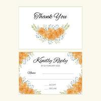 tarjeta de boda rsvp con ramo de flores de caléndula acuarela